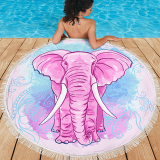 Pink Elephant Blanket Large Round Beach Blanket Towel Picnic Yoga Outdoor Mat