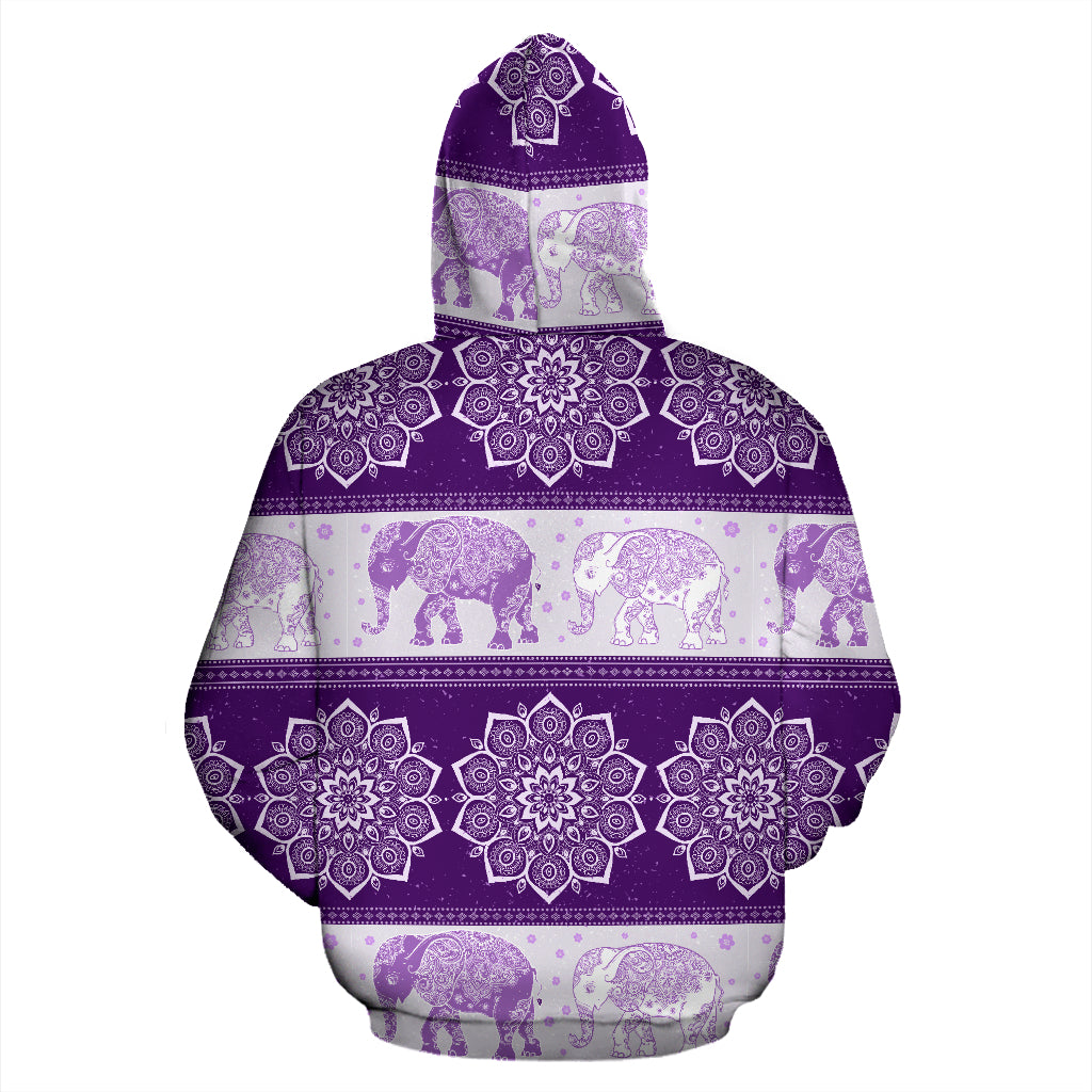 Flower Mandala Elephant Purple Premium All Over Print Zip-up Hoodie
