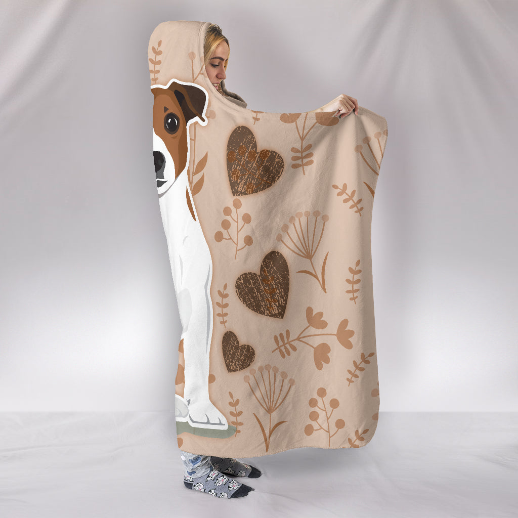 I Love Jack Russell Hooded Blanket for Lovers of Jack Russells