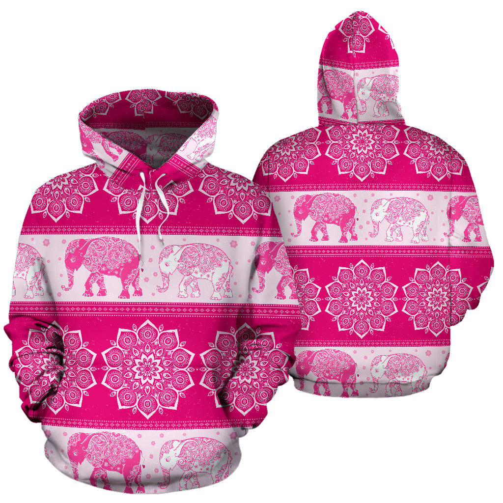 Flower Mandala Elephant Pink All Over Print Hoodie Sweatshirt Hooded