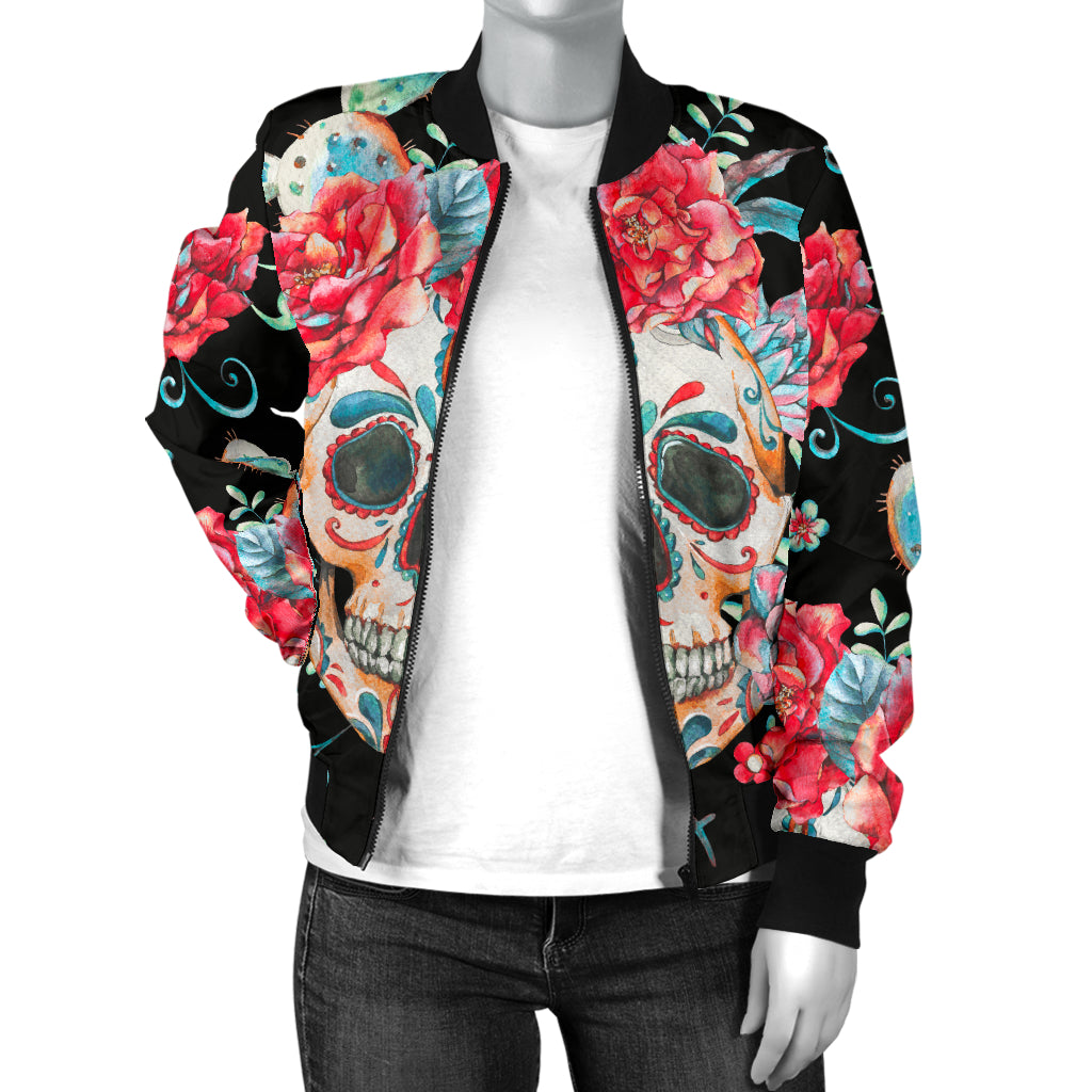 Halloween Sugar Skull Women's Bomber Jacket
