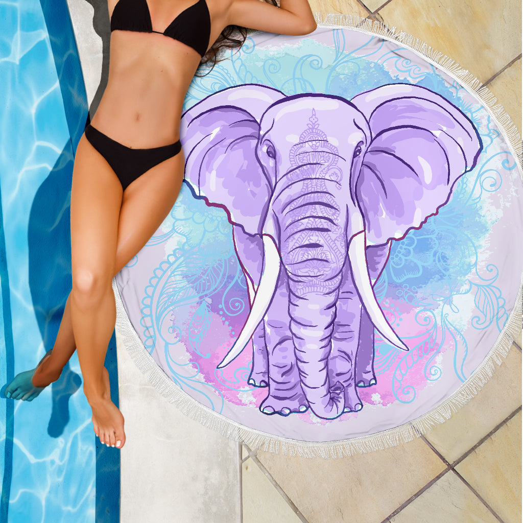 Purple Elephant Blanket Large Beach Blanket Towel Picnic Yoga Outdoor Mat