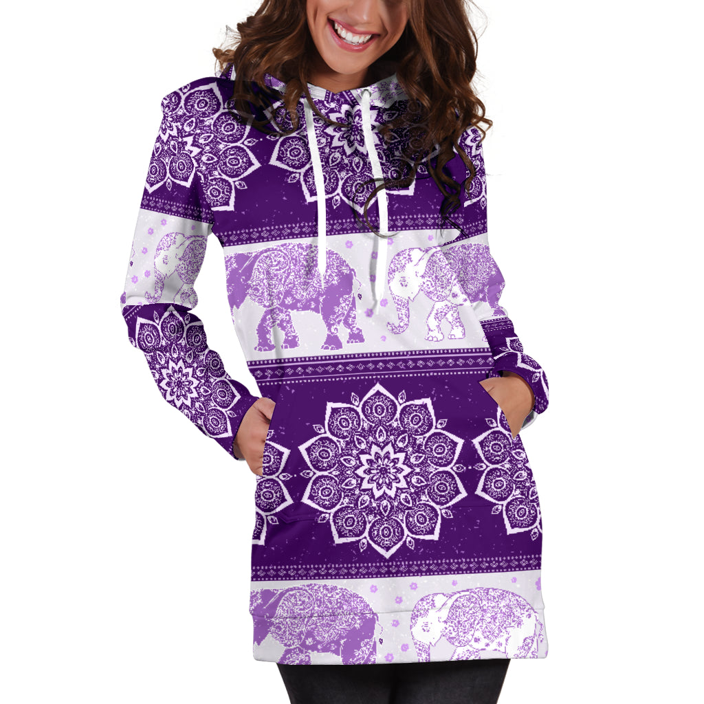 Mandala Elephant Flower Purple Women's Hoodie Dress Sweatshirt Hooded