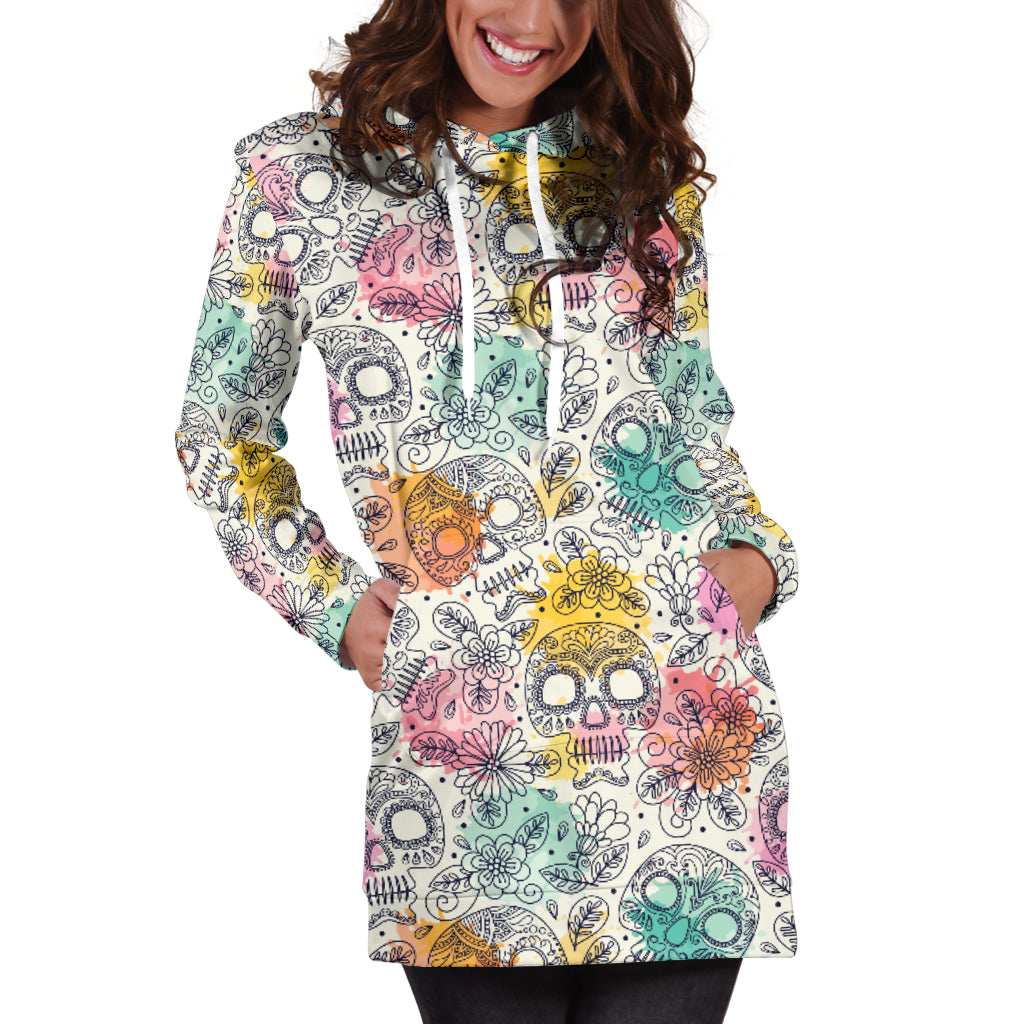 Sugar Skull Women's Hoodie Dress