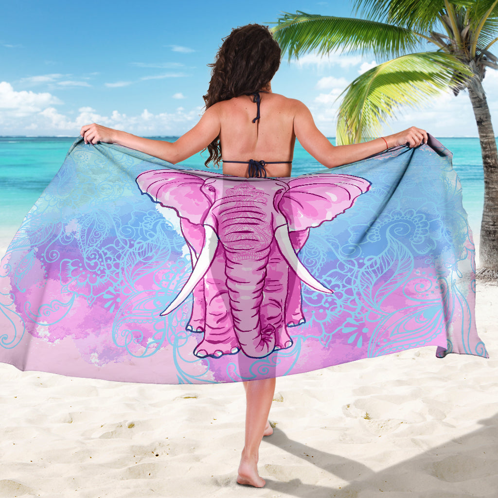Pink Elephant Pashmina Sarong Beach Cover Up Pareo Shawl Wrap Scarf