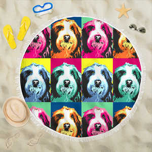 Old English sheepdog Beach Blanket Towel Picnic Yoga Outdoor Mat