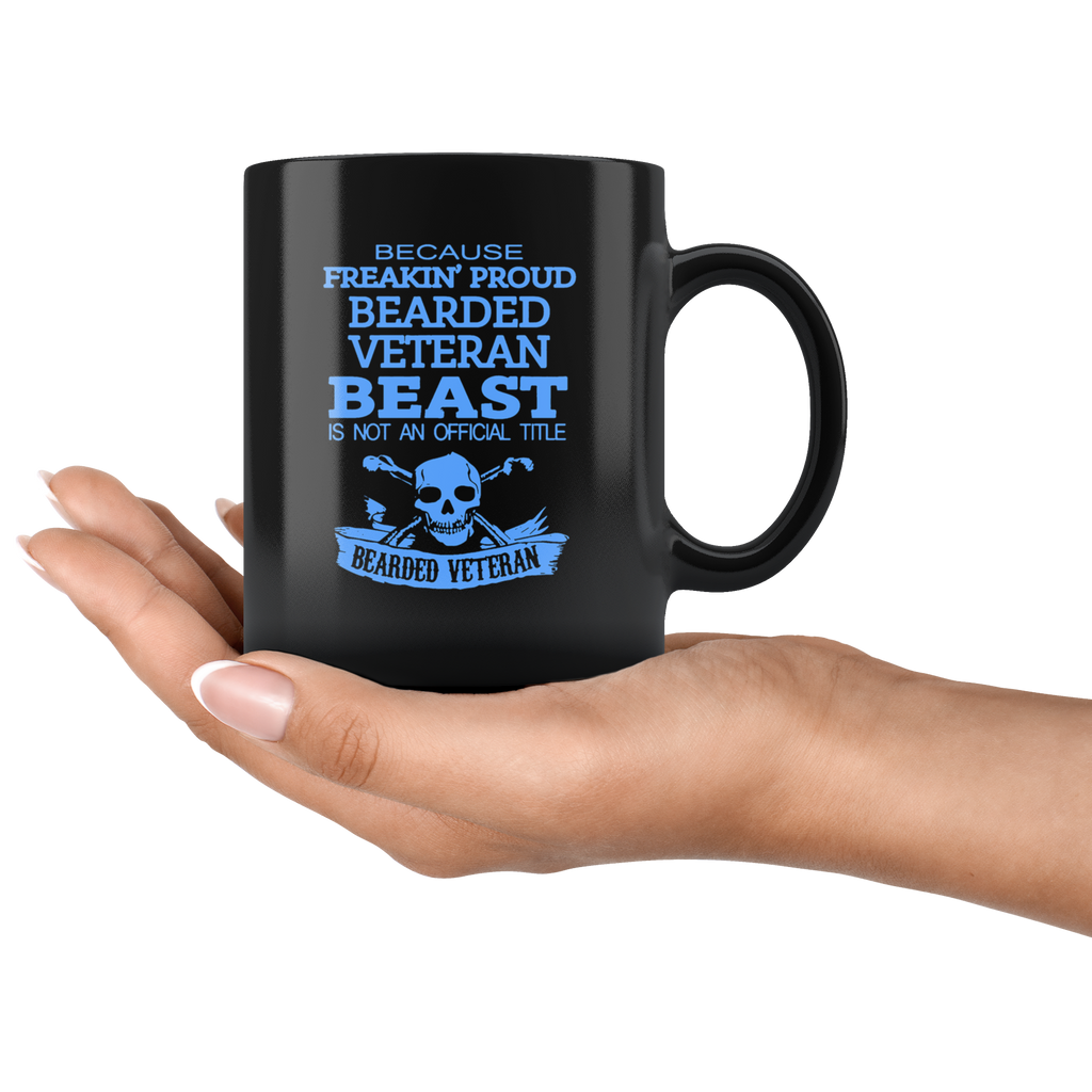 Bearded Veteran Black Ceramic Coffee Mug Quotes Cup Sayings