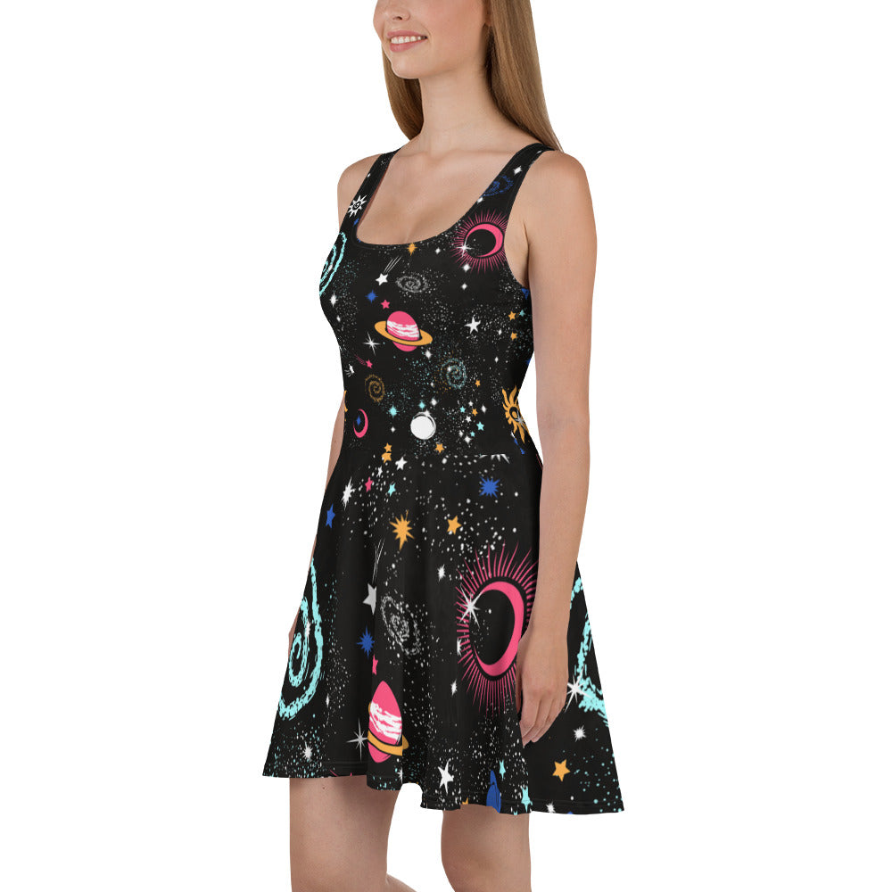 Galaxy Skater Dress Black Galaxy Dress