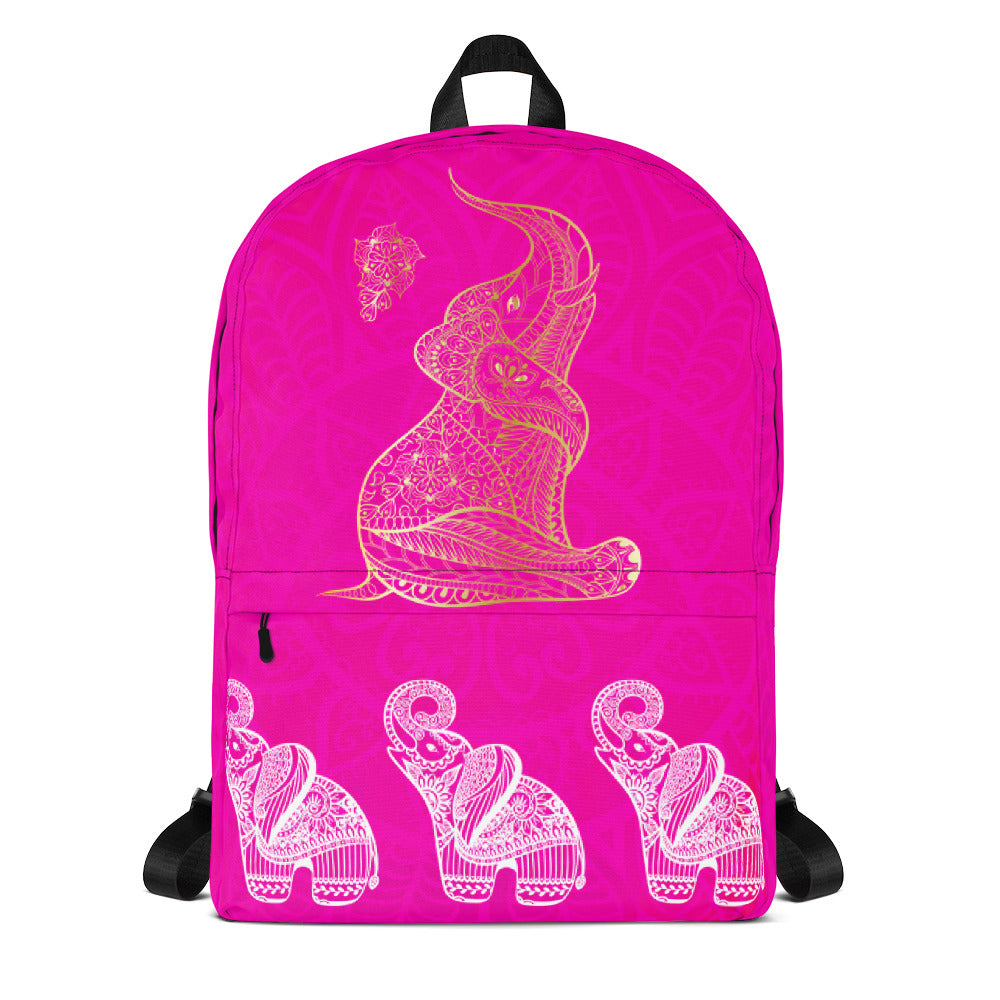 Elephant Mandala Bohemia Pink Backpack Laptop Bag Travel Daypack Schoolbag Bookbag