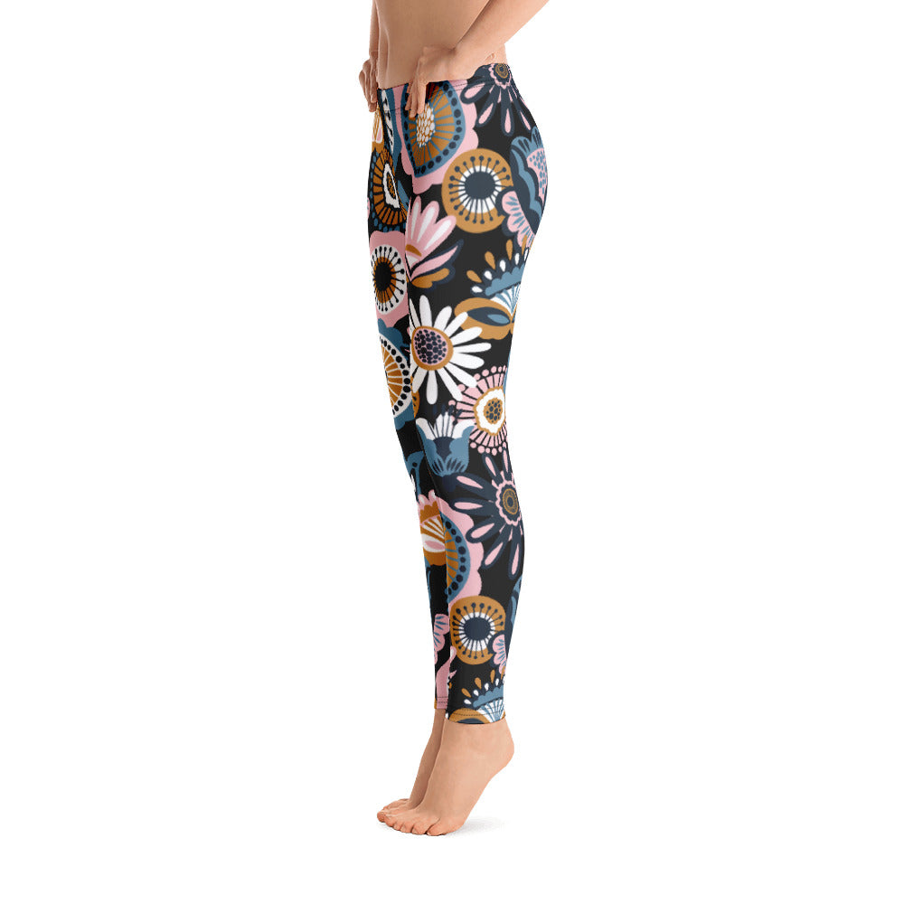Floral Leggings Black Leggings