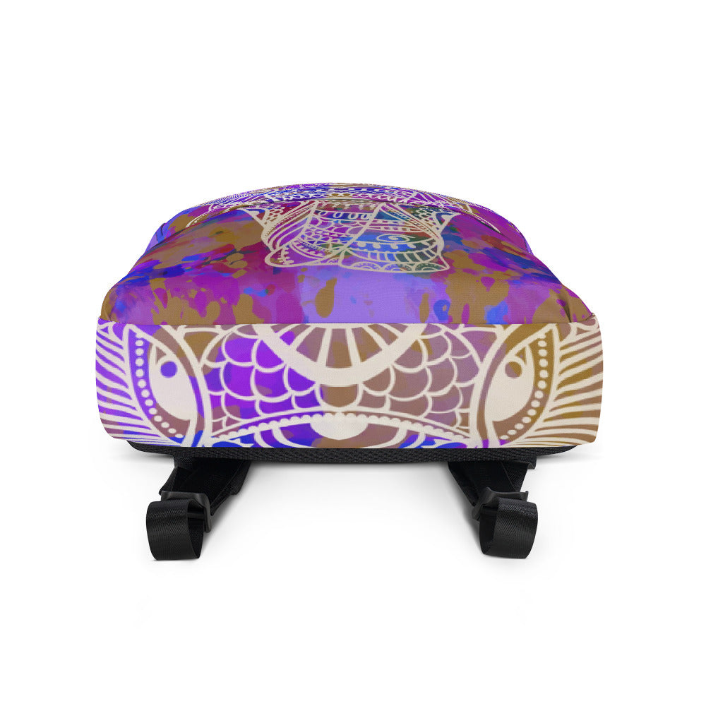 Elephant Mandala Purple Backpack Laptop Bag Travel Daypack Schoolbag Bookbag