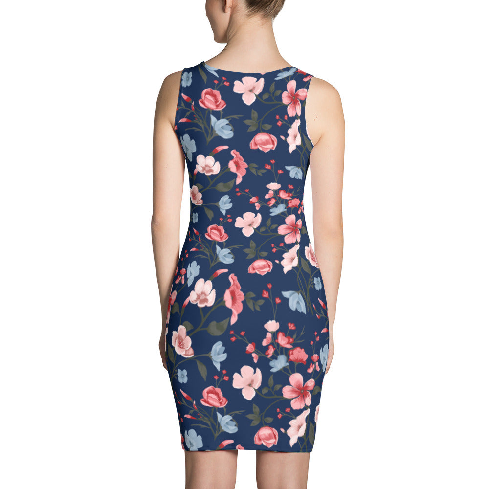 Floral Print Dress Nave Blue Dress for Women
