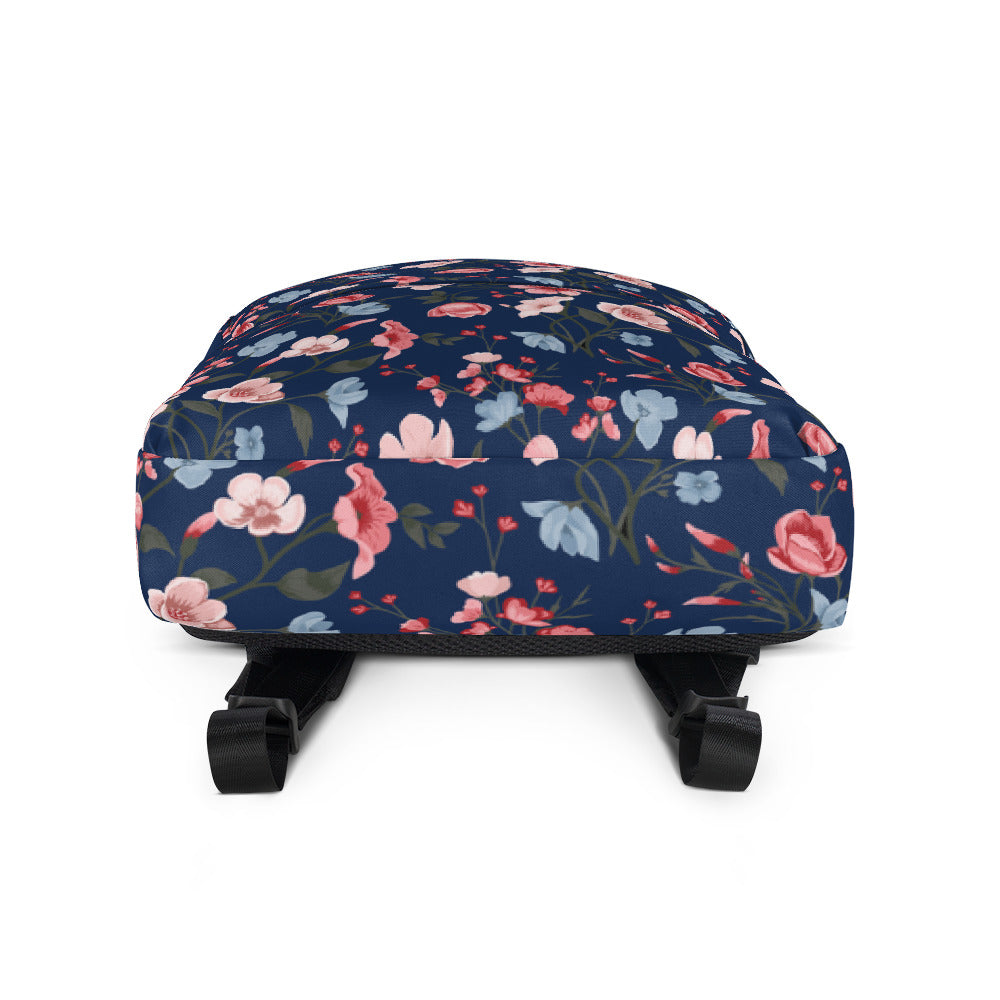 Floral Backpack Navy Blue Backpack