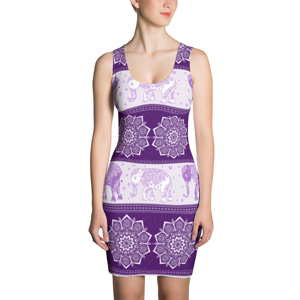 Elephant Mandala Bohemia Flower Purple Dress