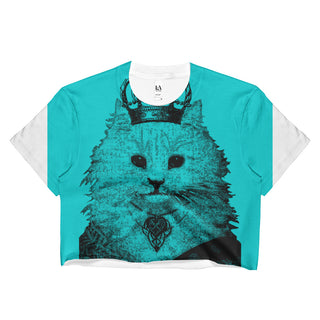 Steampunk Cat Turquoise Ladies Crop Top