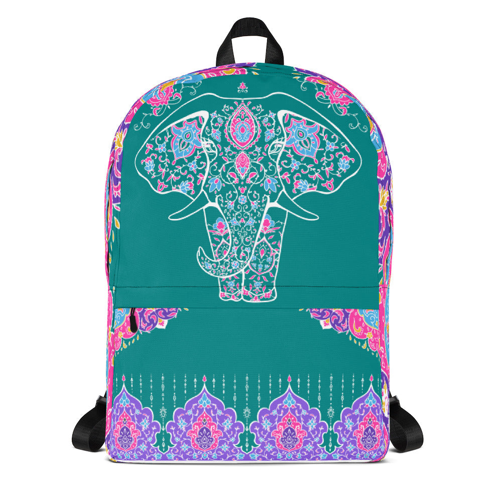 Elephant Mandala Teal Backpack Laptop Bag Travel Daypack Schoolbag Bookbag