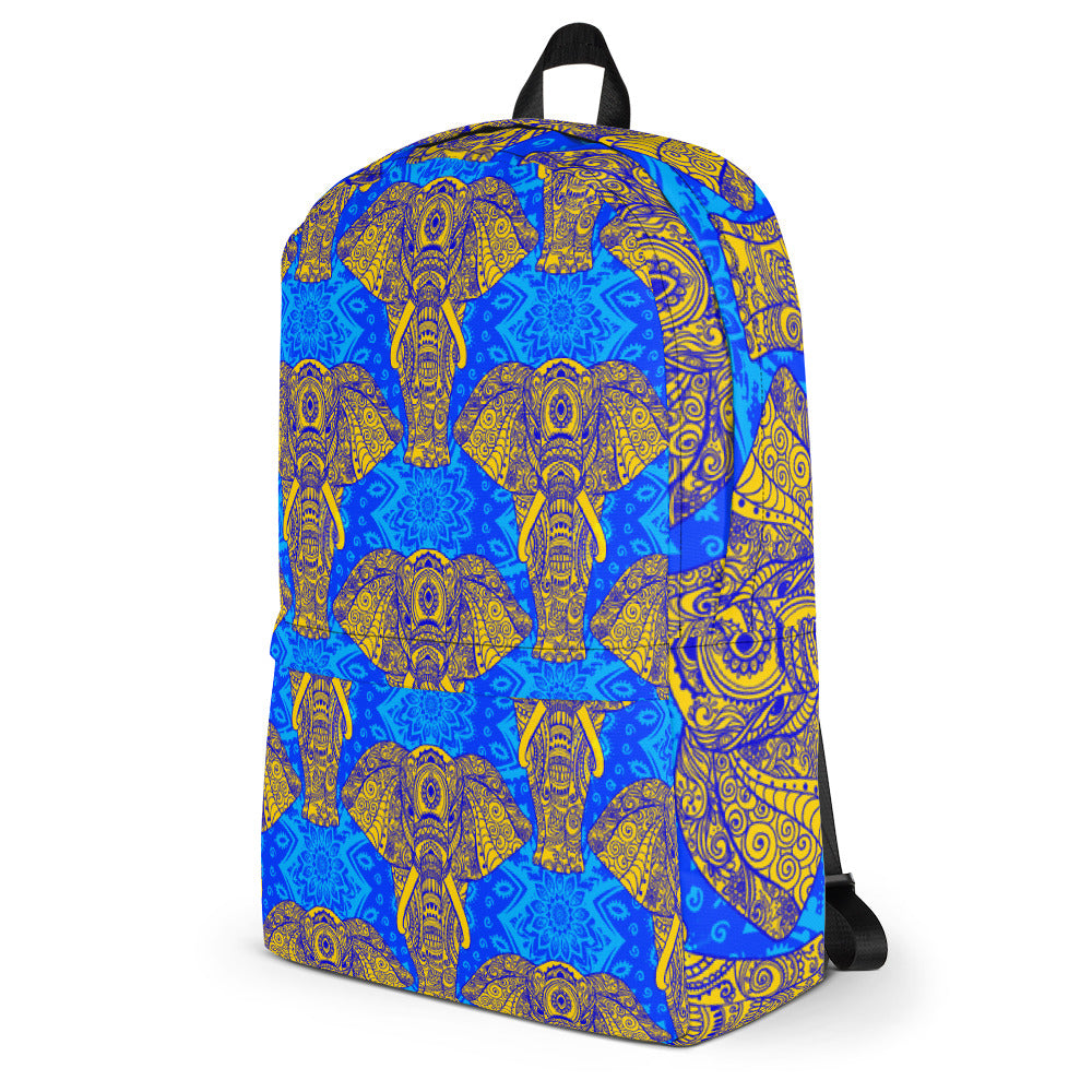 Elephant Mandala Blue Backpack Laptop Bag Travel Daypack Schoolbag Bookbag