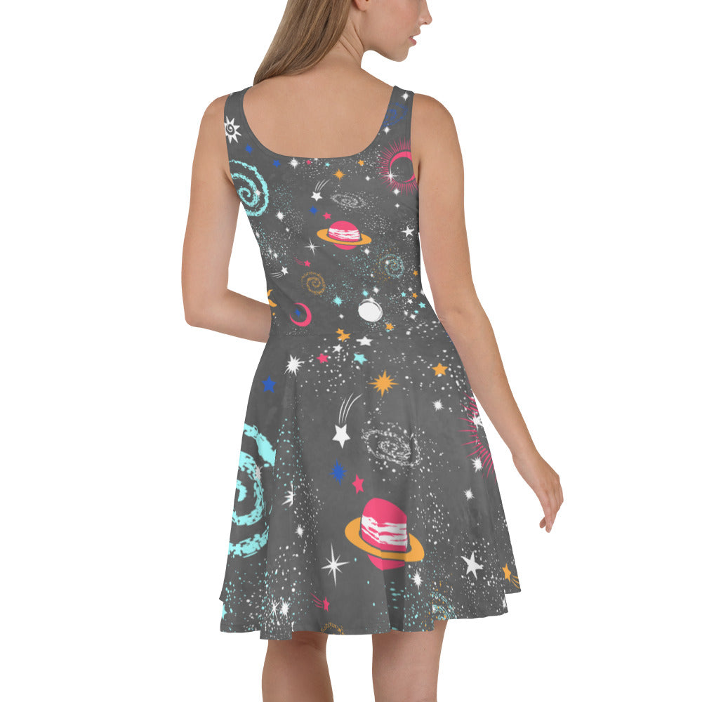 Galaxy Skater Dress Grey Galaxy Dress