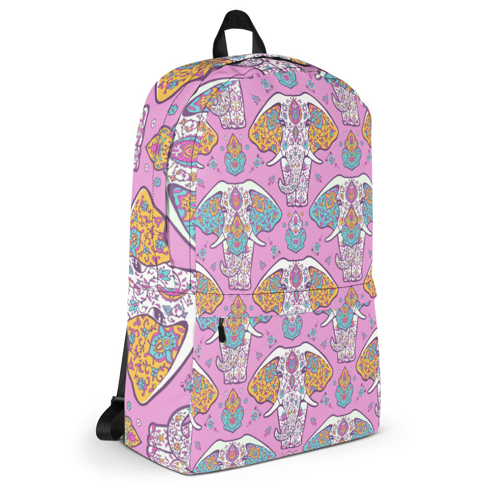Elephant Mandala Pink Backpack Laptop Bag Travel Daypack Schoolbag Bookbag