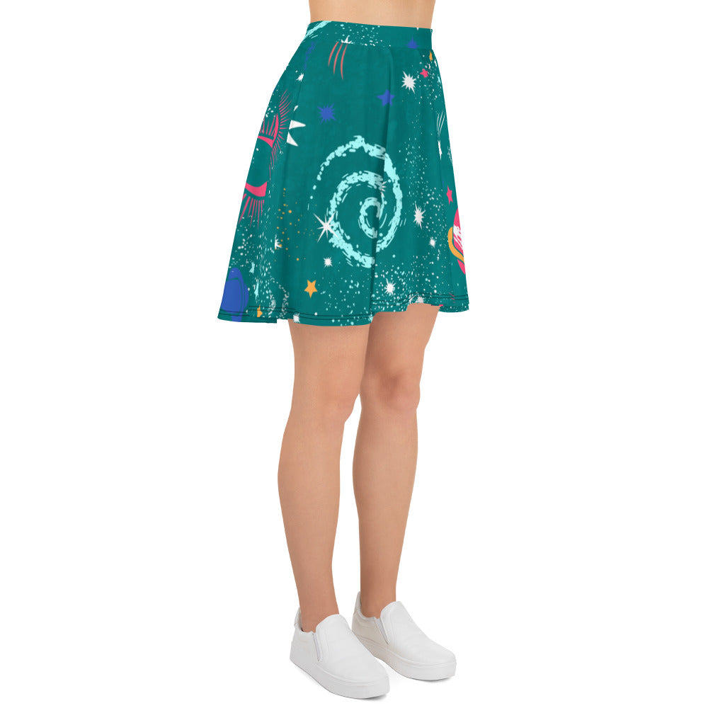 Galaxy Skirt Green Skater Skirt