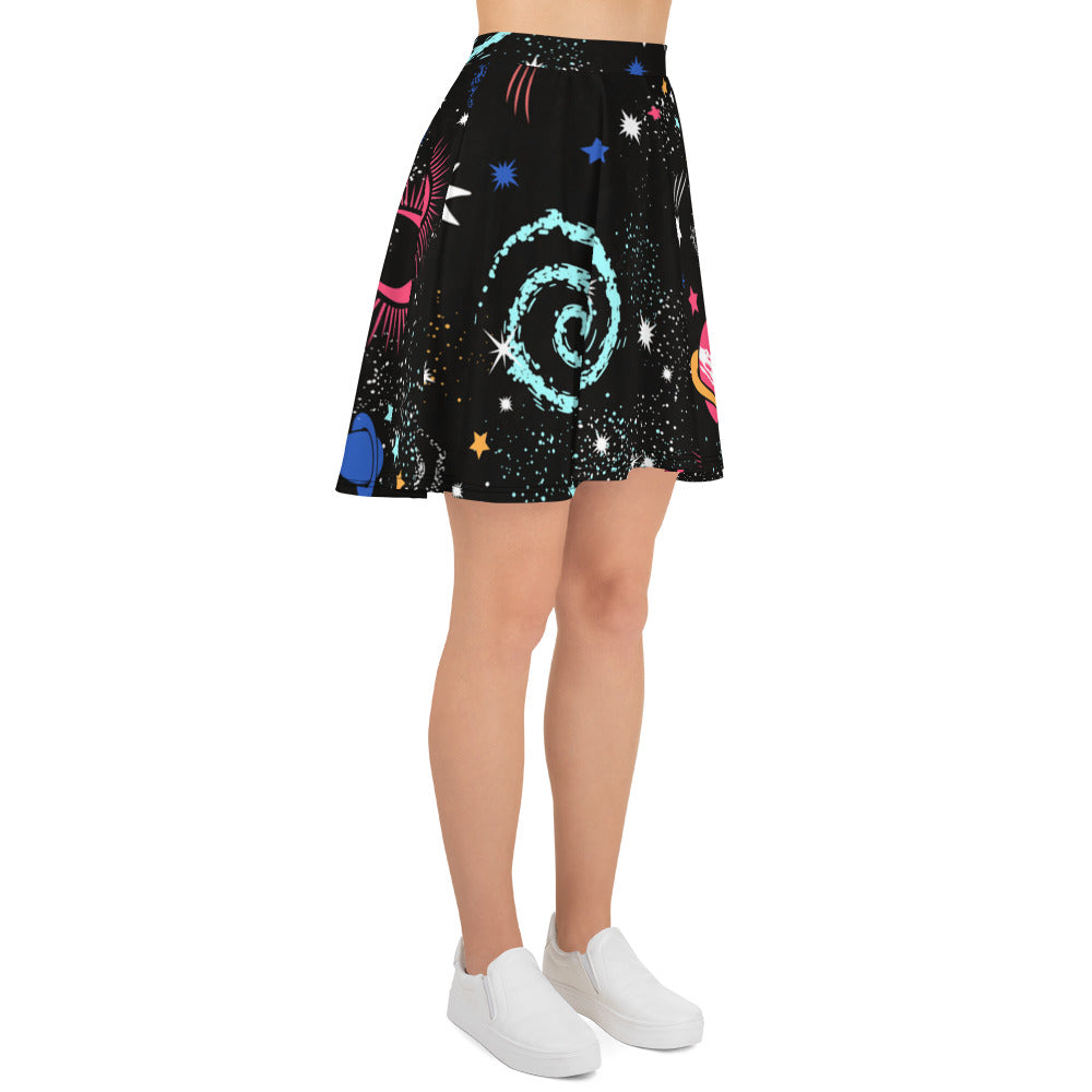Galaxy Skirt Black Skater Skirt