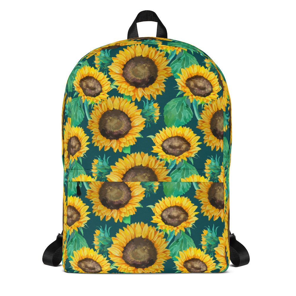 Sunflower Green Backpack Laptop Bag Travel Daypack Schoolbag Bookbag