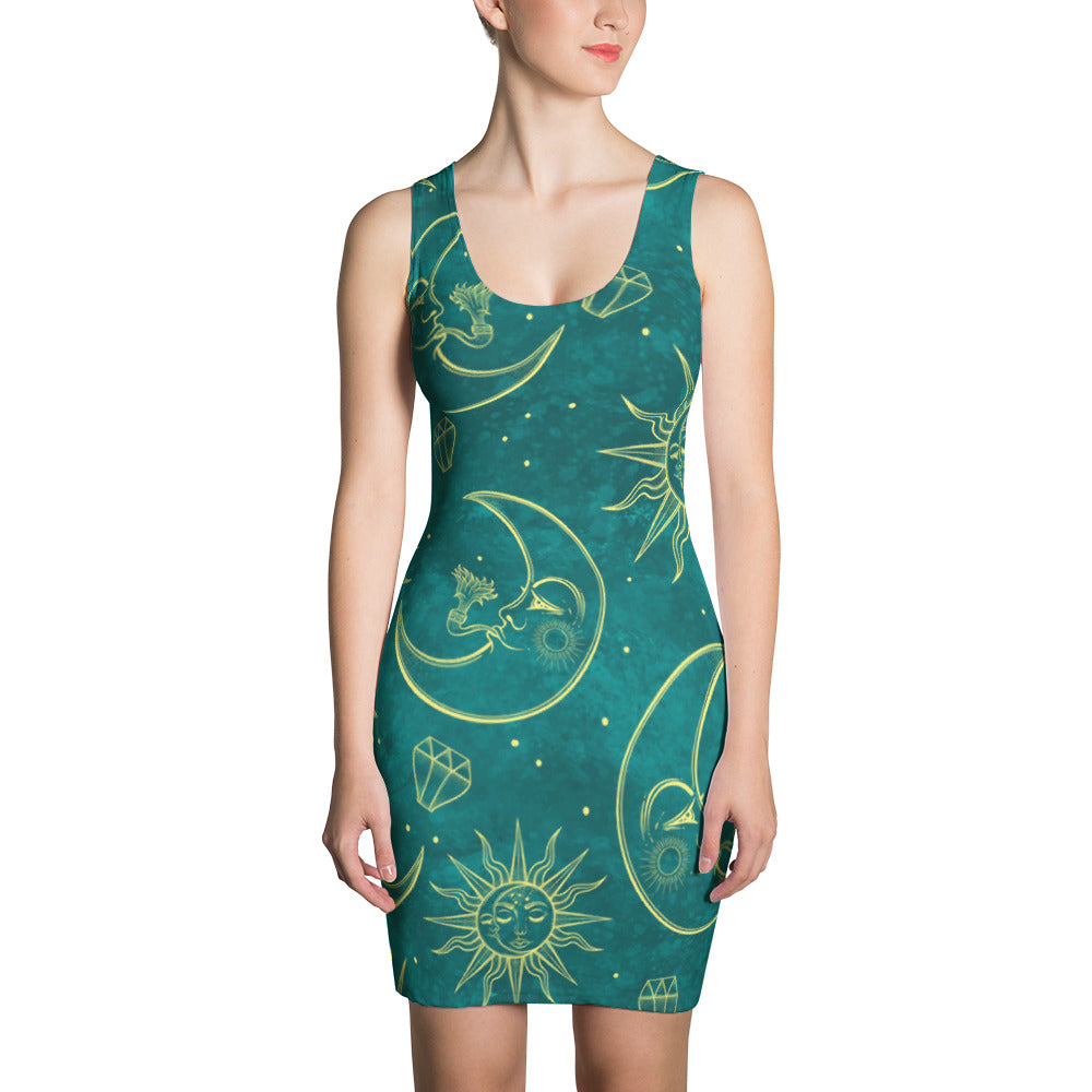Sun and Moon Teal Dress