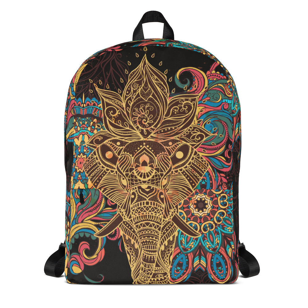 Elephant Mandala Bohemia Black Backpack Laptop Bag Travel Daypack Schoolbag Bookbag