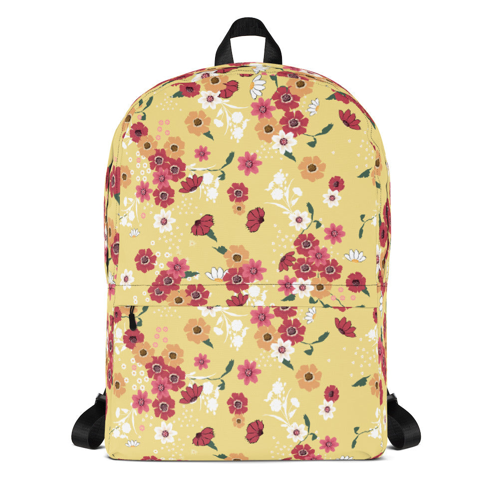 Floral Backpack Yellow Backpack