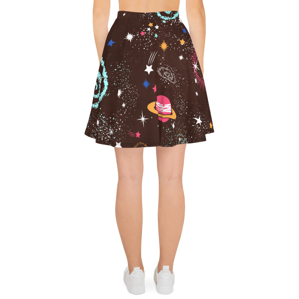 Galaxy Skirt Grey Skater Skirt