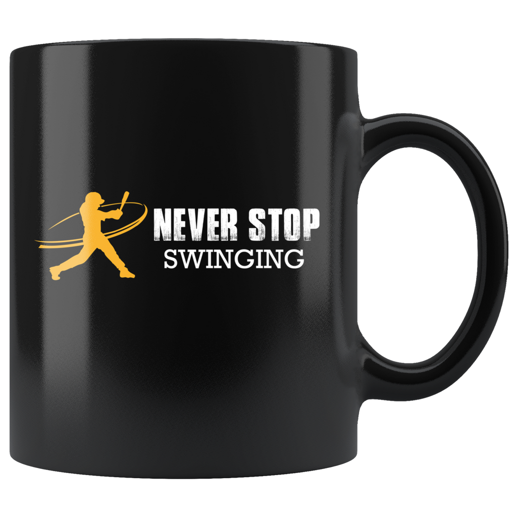 Swinging Baseball Black Ceramic Coffee Mug Quotes Cup Sayings
