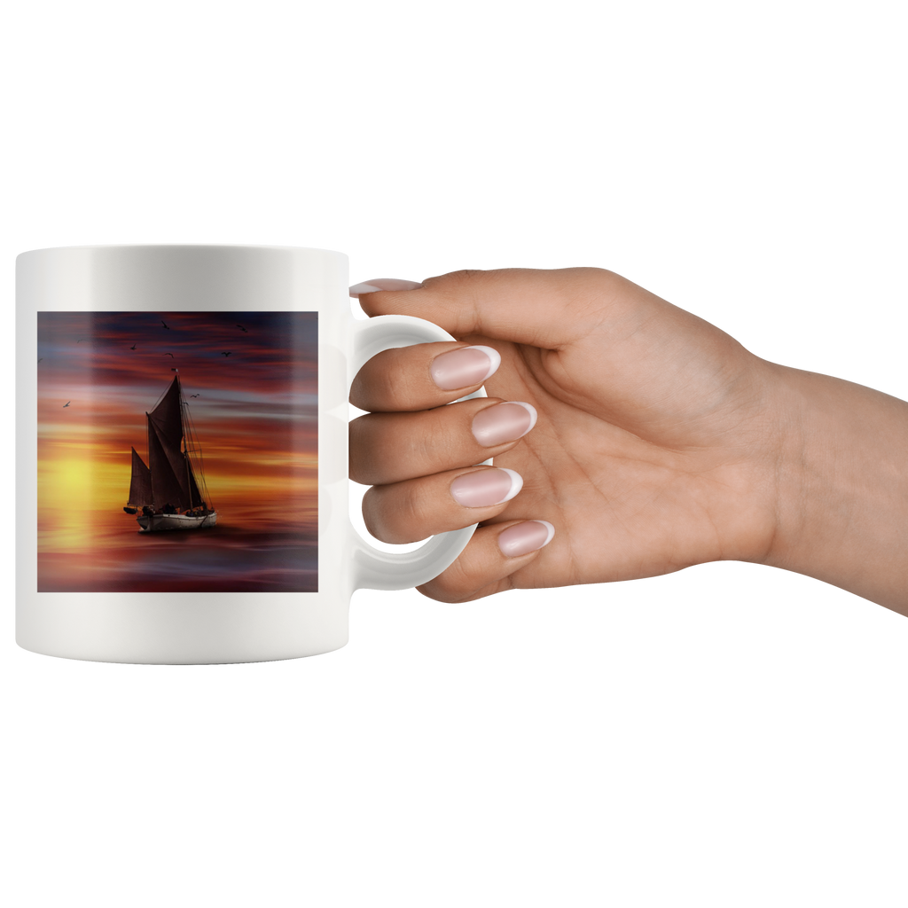 Sailboat Sunset Drinking White Ceramic Coffee Mug Sailing Cup