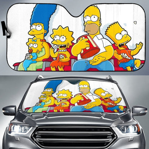 The Simpson Family Watching Movies Auto Sun Shade