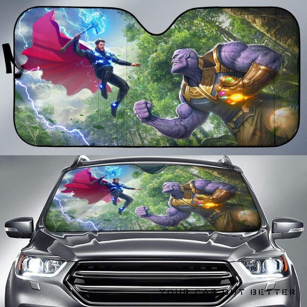 Thor Vs Thanos Car Auto Sun Shade