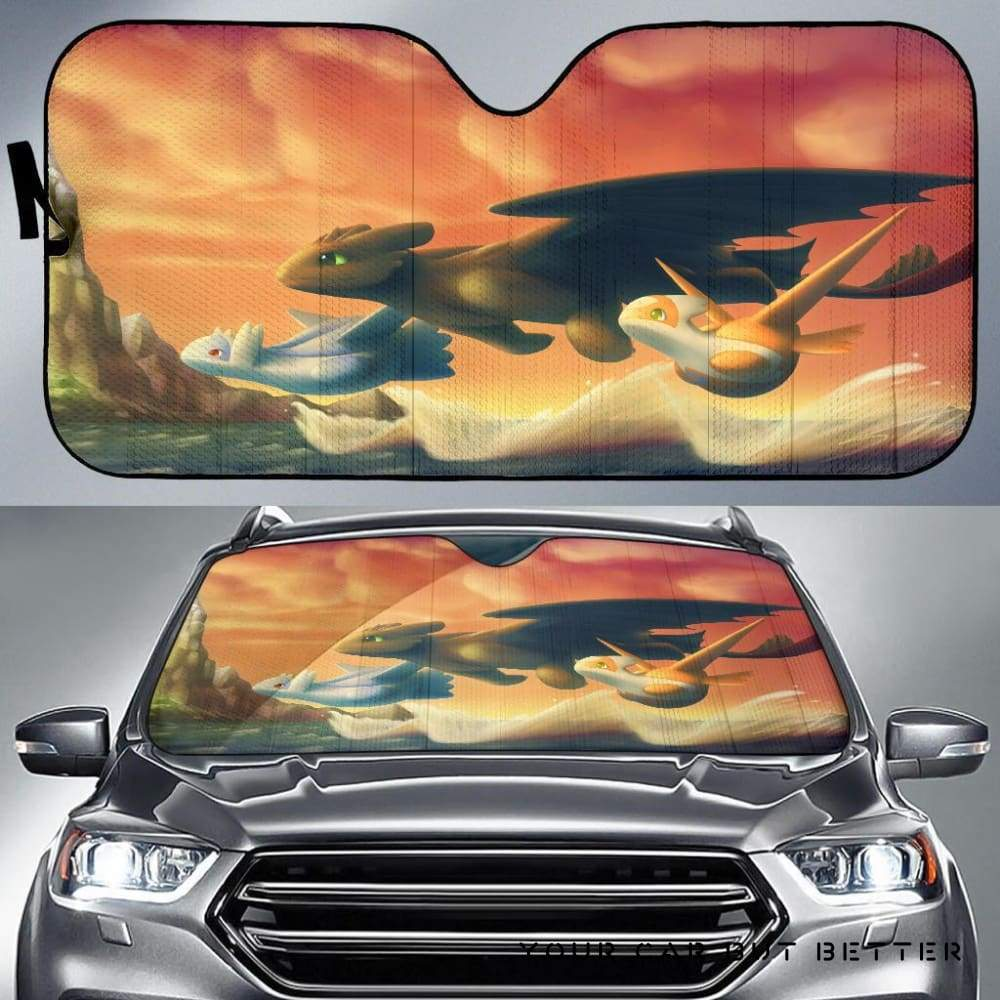 Toothless And Pokemon Car Auto Sun Shade