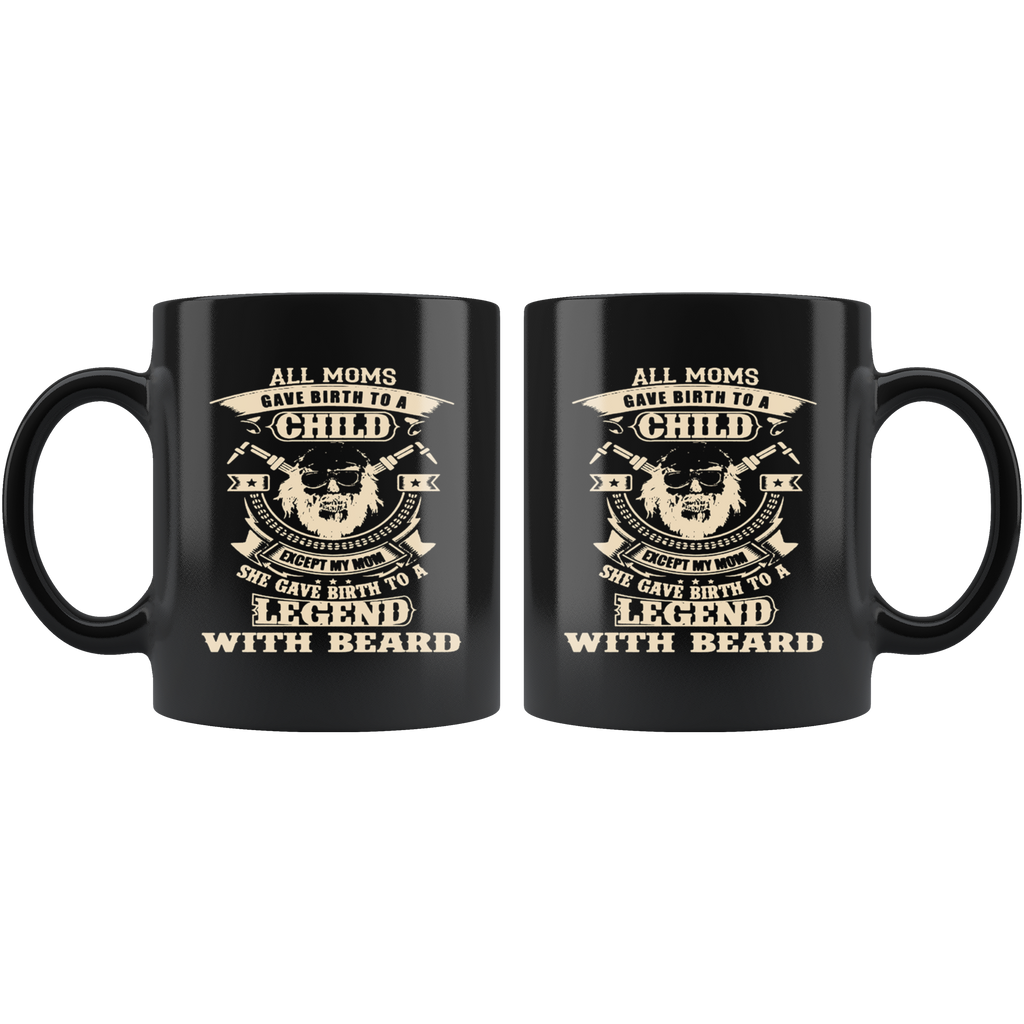 Legend with Beard Black Ceramic Coffee Mug Quotes Cup Sayings