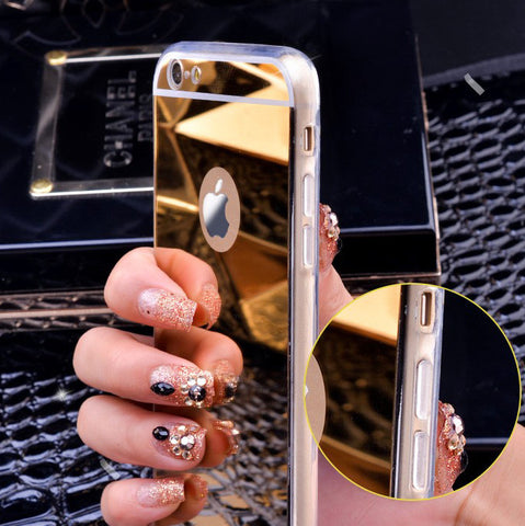 Gold Luxury Plating Bling Luxury Mirror Case For iPhone 7 6 6S Plus 5s SE Soft Clear TPU Cover For iPhone 6 7 6S 5S