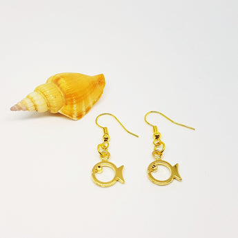 GOLD Phish Dangling Earrings