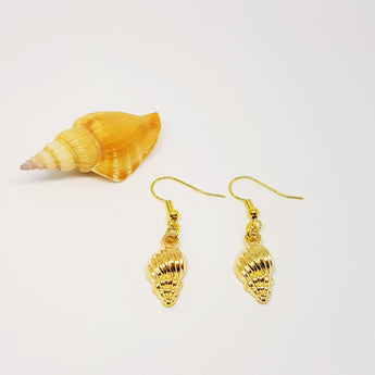 GOLD Spiral Seashell Dangling Earrings