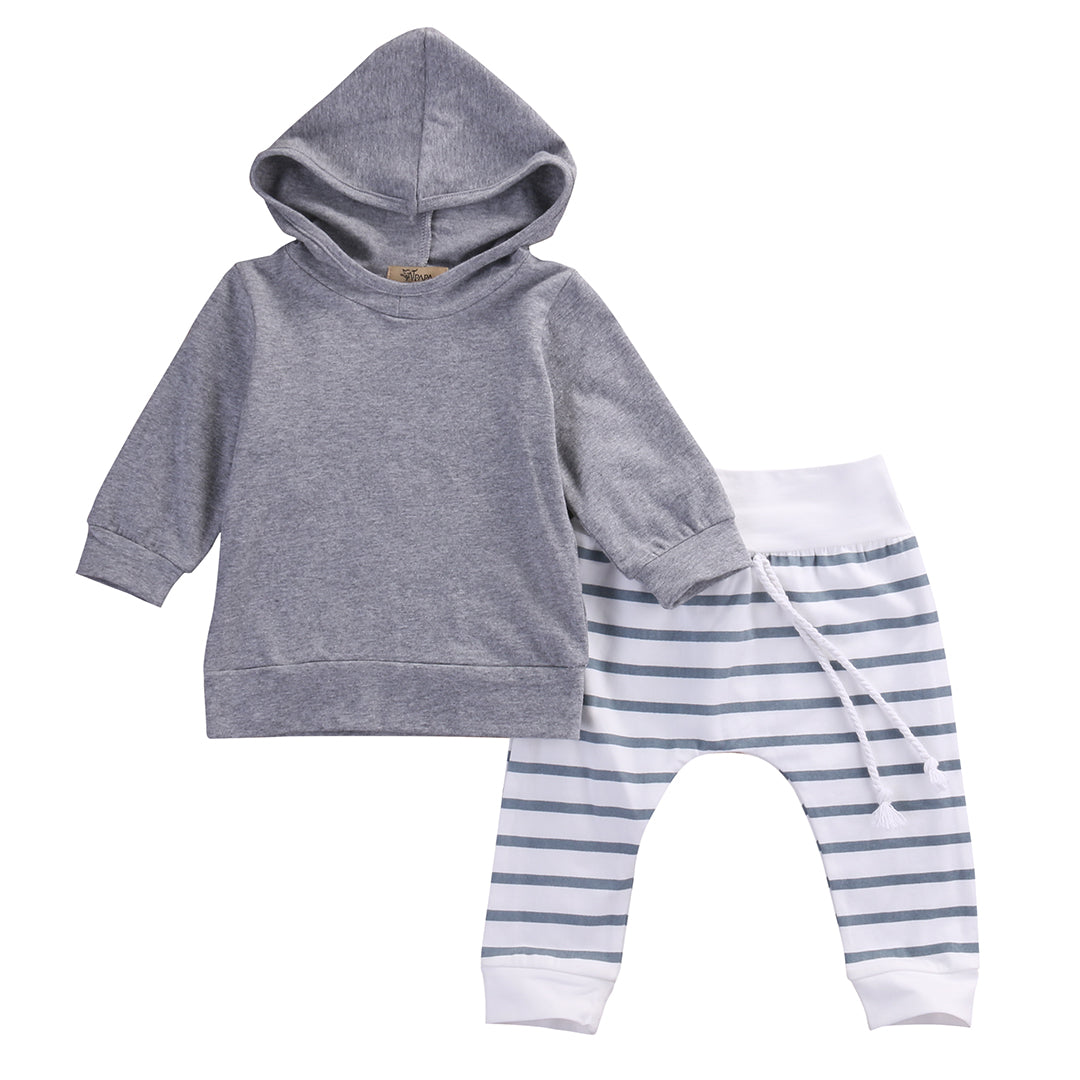 2pc Baby Girl Boys Clothes Warm Hooded Tops+Pants Sets - MyBabyNMore