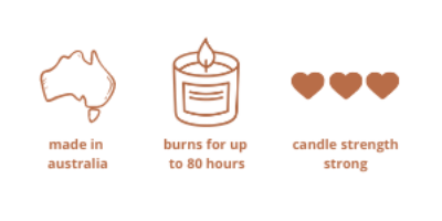 Australian made candle 80 hours burn time