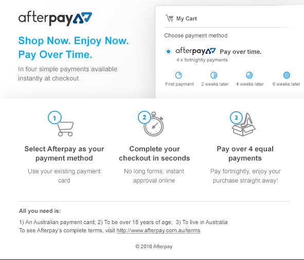 Afterpay instructions