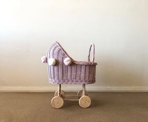 Wicker Dolls Pram High - Dusty Pink - HartCo. Home & Body
