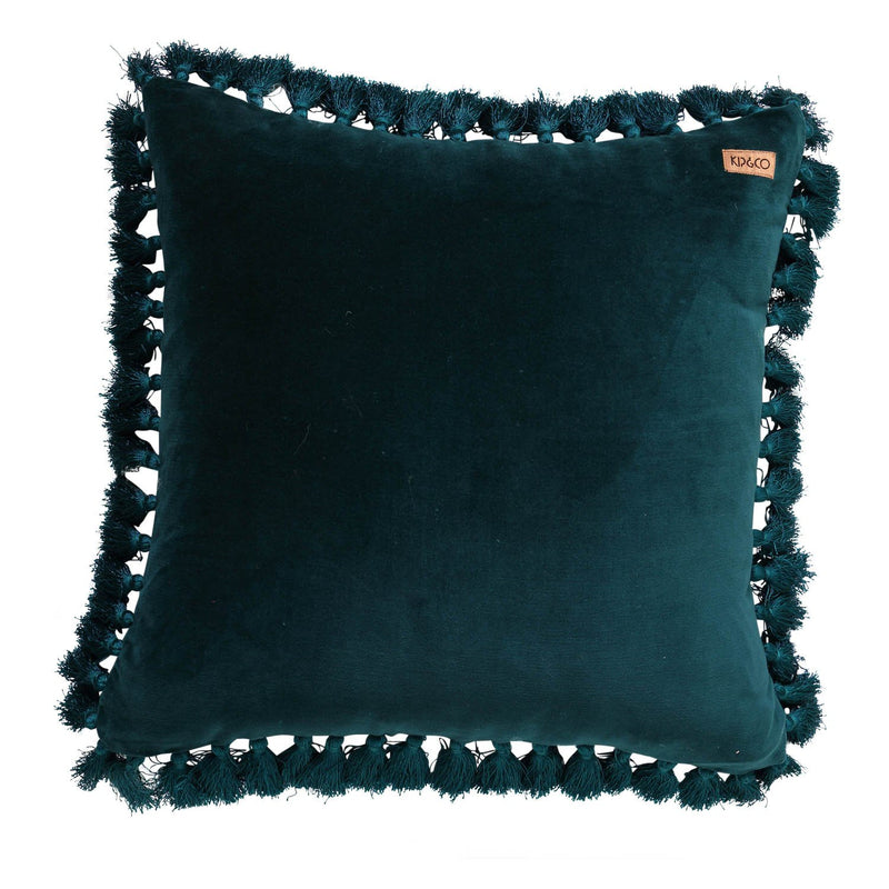 Alpine Green Velvet Tassel Cushion Cover - HartCo. Home & Body