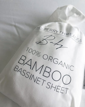 BAMBOO BASSINET FITTED SHEET - WHITE
