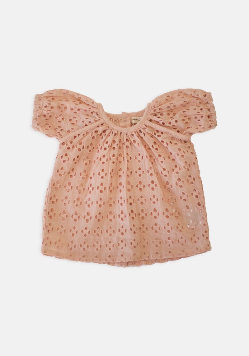 Baby Broderie Short Sleeve Top - Peach - HartCo. Home & Body