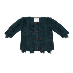 Harley Fringe Knit Cardigan - Teal - HartCo. Home & Body
