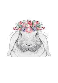 Rebekah The Rabbit With Protea Crown Full Face - HartCo. Home & Body