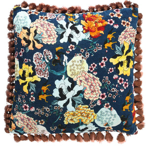 GALLOP TEAL TASSEL CUSHION COVER - HartCo. Home & Body