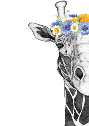 Georgi The Giraffe With Flower Crown - Neutral